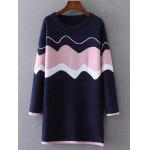 Color Block Wave Jacquard Sweater Dress - PURPLISH BLUE