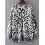 cheap Leopard Jacquard Pullover Sweater