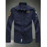 Turn-Down Collar Embroidered Appliques Long Sleeve Shirt - DEEP BLUE