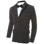 cheap Button Embellished Notch Lapel Back Vent Jacket