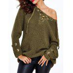 Lace Up Criss-Cross Long Sweater - ARMY GREEN