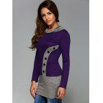 Buttoned Heathered Spliced Blouse - PURPLE