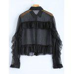 Ruffled Sheer Crop Shirt - BLACK