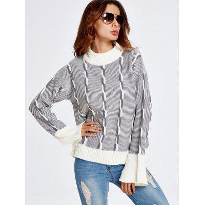 Color Block Heather Bell Sleeve Sweater