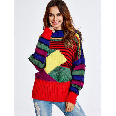 Geometric Stripe Pattern Chunky Sweater