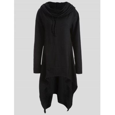 Buy BLACK 4XL Drawstring Asymmetric Longline Hoodie for $28.26 in GearBest store