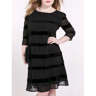 Buy BLACK Tied-Up Striped Suede Paneled Dress for $14.87 in GearBest store