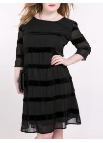 Tied-Up Striped Suede Paneled Dress