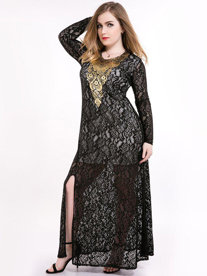 3cda3e6ddb2 Plus Size Slit Sheer Lace Long Sleeve Maxi Formal Dress -  48.29 ...