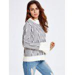 best Color Block Heather Bell Sleeve Sweater