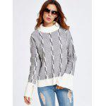 cheap Color Block Heather Bell Sleeve Sweater