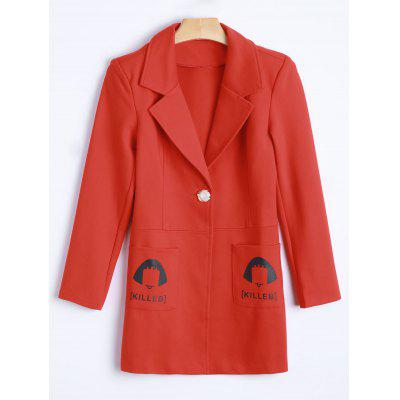 Lapel One Button Letter Print with Pockets Coat