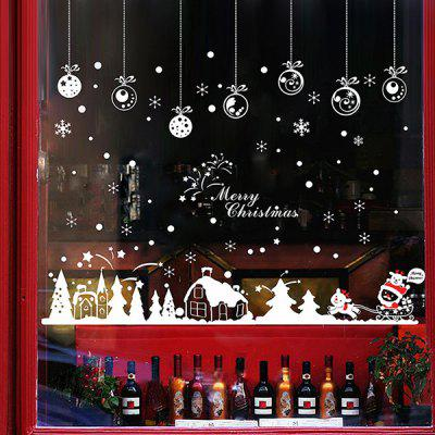 Buy Christmas Snow Hut Removable Glass Window Wall Stickers RED WITH WHITE for $4.72 in GearBest store