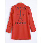 cheap Lapel One Button Letter Print with Pockets Coat