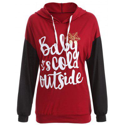 Drop Shoulder Drawstring Christmas Snowflake Hoodie