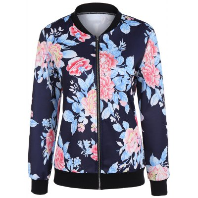 Zip Up Floral Print Bomber Jacket