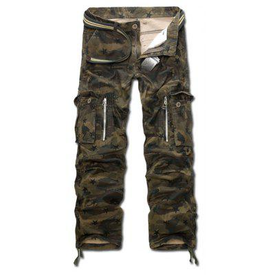Drawstring Zippered Camo Army Cargo Pants