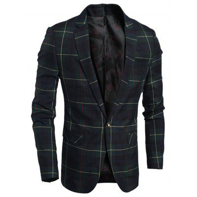 Single Breasted Notch Lapel Plaid Blazer