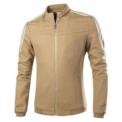 A strisce Rib Hem Zip Up Jacket