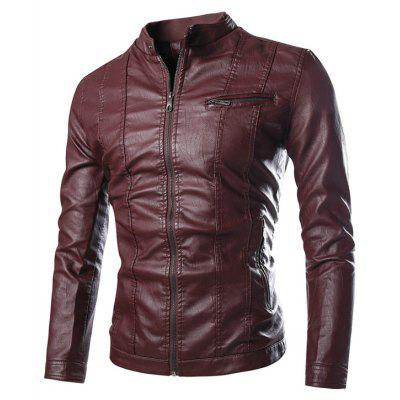 Stand Collar Zip Pocket PU Leather Jacket