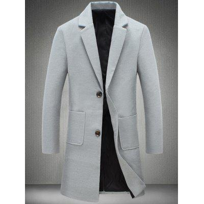 Notch Lapel Patch Pocket Woolen Coat