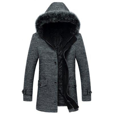 Woolen Blend Furry Hood Hooded Coat