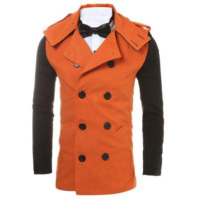 Epaulet Design Back Vent Two Tone Pea Coat