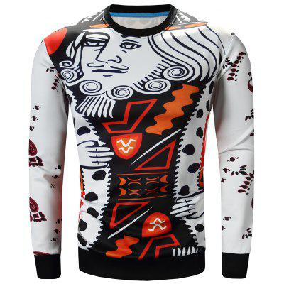 Crew Neck Poker Figure and Geometric Print Long Sleeve Sweatshirt