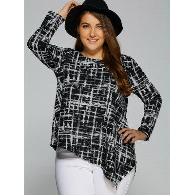 Plus Size Asymmetrical Side Slit Blouse