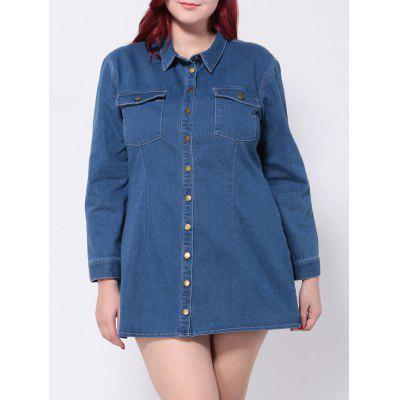 Plus Size Denim Button Down Shirt Dress