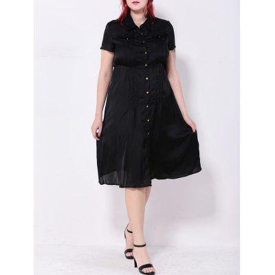Pintuck Button-Down-Kleid