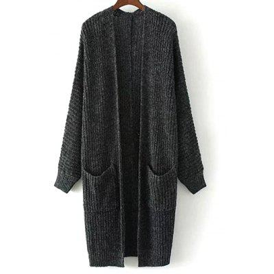 Buy DEEP GRAY Collarless Double Pockets Knitted Cardigan for $13.46 in GearBest store