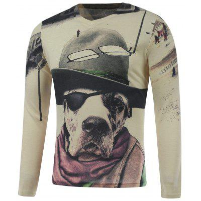 Plus Size Long Sleeve Dog in the Hat Print T-Shirt