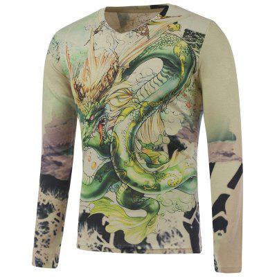 Plus Size Long Sleeve Dragon in the Sky Print T-Shirt