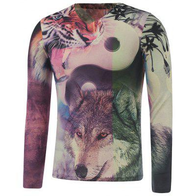 Plus Size Long Sleeve Animals Stampa T-shirt