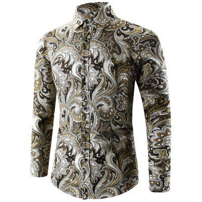 Buy YELLOW Turn-Down Collar Long Sleeve Paisley Shirt for $15.06 in GearBest store