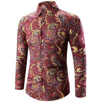 Buy DEEP RED Turn-Down Collar Long Sleeve Paisley Shirt for $12.36 in GearBest store