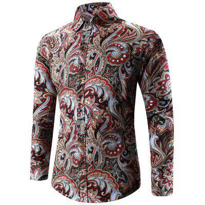 Buy RED Turn-Down Collar Long Sleeve Paisley Shirt for $13.91 in GearBest store