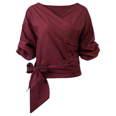 Belted Bunched Sleeve Crossover Blouse