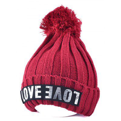 Big Ball Love Letter Knitted Beanie