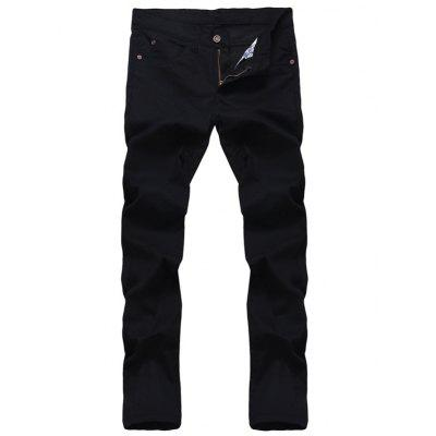 Solid Color Zipper Fly Straight Leg Jeans Pour Hommes