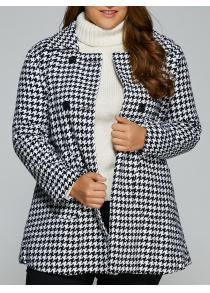 Warm Plus Size Houndstooth Coat