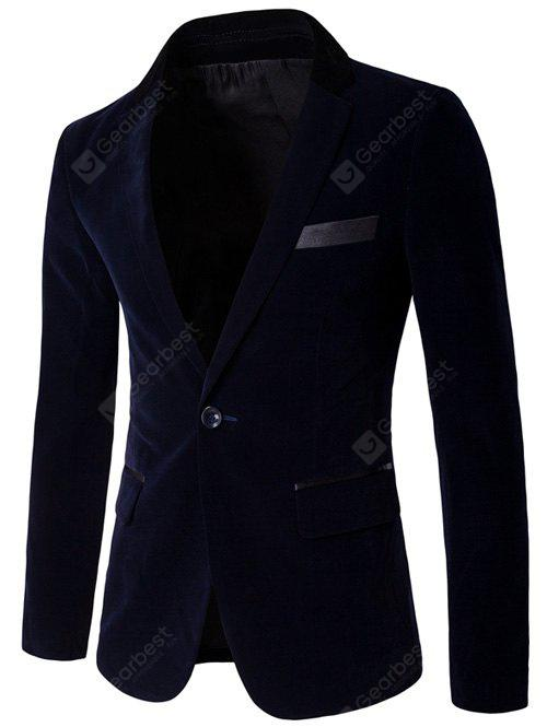 Velvet One Button Blazer bordatura