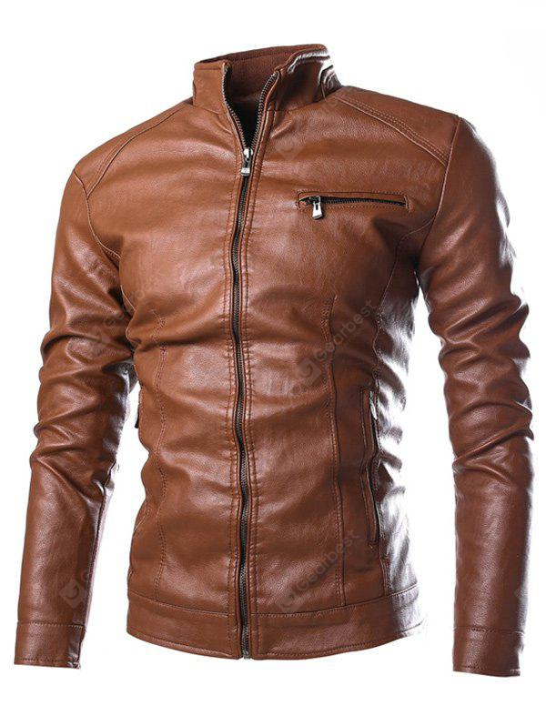 Stand collare Zip Pocket Faux Leather giacca
