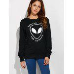 cheap Alien Letter Casual Funny Sweatshirt