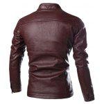 cheap Stand Collar Zip Pocket PU Leather Jacket
