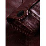 Stand Collar Zip Pocket PU Leather Jacket deal