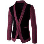 Velvet splicing design One Button Blazer - ROSSO