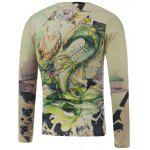cheap Plus Size Long Sleeve Dragon in the Sky Print T-Shirt