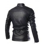 cheap Stand Collar Zip Pocket Faux Leather Jacket